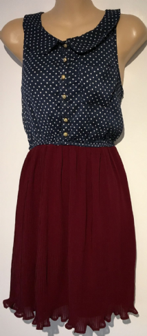INFLUENCE NAVY/BURGUNDY SPOTTY SHIRT DRESS SIZE 8